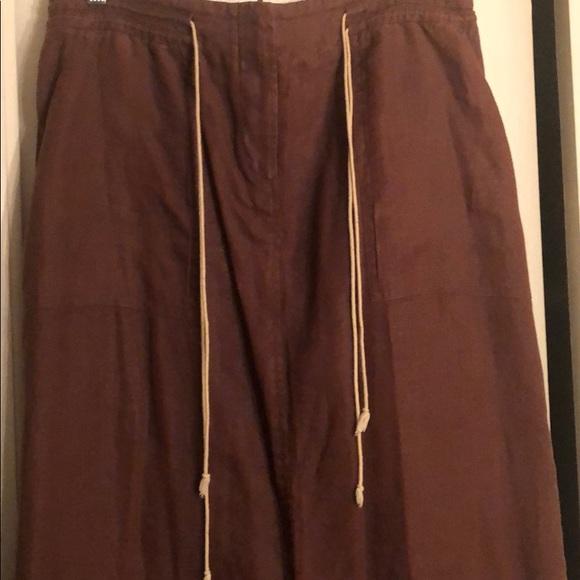 Eagles Eye/ Brown linen Skirt